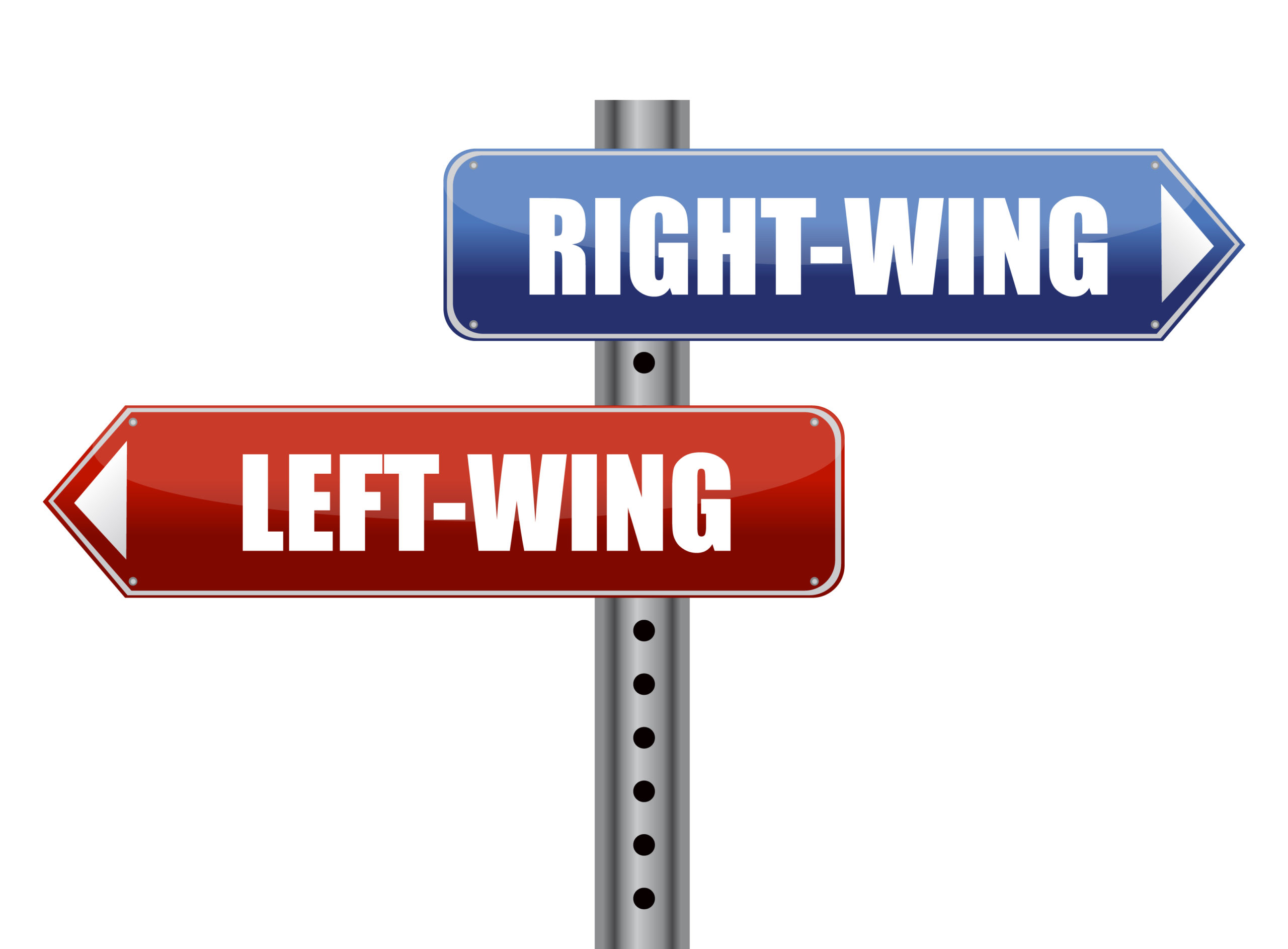 """Two signs that say """"Right-Wing"""" and """"Left-Wing"""" respectively"""